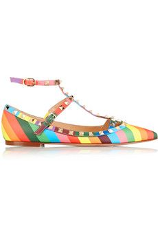 Valentino 1973 Rockstud printed leather point-toe flats | NET-A-PORTER