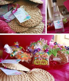 Love the grass fans, TIKI cookies, and personalized custom bottle labels!  Mermaid party