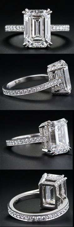 carat emerald-cut diamond engagement ring, this is my dream ring! Emerald Cut Diamond Engagement Ring, Emerald Cut Diamonds, Diamond Rings, Diamond Cuts, Ruby Rings, Emerald Rings, Morganite Engagement, Green Diamond, Halo Rings