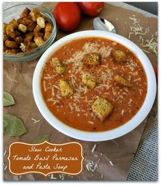 Recipe for Slow Cooker Tomato Basil Parmesan and Pasta Soup - 365 Days of Slow Cooking Slow Cooker Tomato Soup, Crock Pot Slow Cooker, Crock Pot Cooking, Slow Cooker Recipes, Crockpot Recipes, Soup Recipes, Vegetarian Recipes, Cooking Recipes, Healthy Recipes