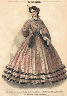 """VINTAGE FASHION PRINT DESCRIPTION This hand colored lithograph printis from""""GODEY'S LADY'S BOOK"""". It was published in New York in about 1860. CONDITION This p"""