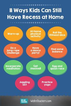 11 Ways Kids Can Still Have Recess at Home​. Looking for ways to have recess at home? Here are some ideas to keep your students physically active and entertained all winter long! Fun Activities For Kids, Physical Activities, Learning Activities, Student Learning, Teaching Kids, Meditation Benefits, Critical Thinking Skills, Outdoor Learning, Brain Breaks