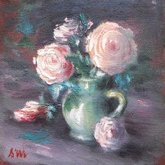 Roses in pitcher - original oil painting x Roses, Oil, The Originals, Unique Jewelry, Handmade Gifts, Painting, Etsy, Vintage, Kid Craft Gifts