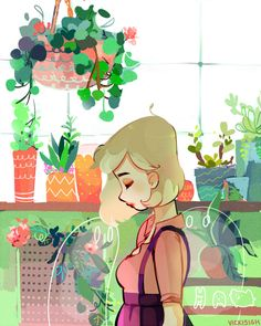 """Can't believe how strange it is to be anything at all "" Mia among plants and friends."