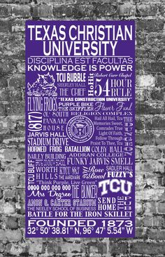 Texas Christian University Typographic Art-handpainted on wood panel
