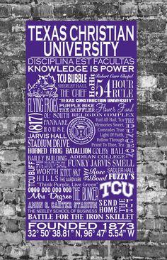 Texas Christian University Typographic Art-handpainted on wood panel