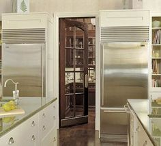 A butler's pantry would be an integral part of my dream home...glass paneled arched doors help to continue the traditional style of my home. Kitchen Pantry Design, Kitchen Pantry Cabinets, Kitchen Refrigerator, Kitchen Nook, Kitchen Redo, Kitchen Styling, Kitchen Storage, Kitchen Remodel, Kitchen Ideas