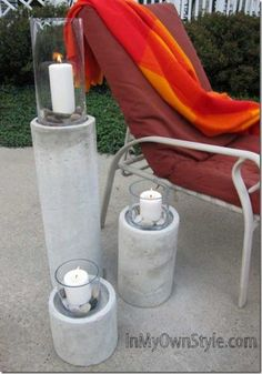 cool cement column candle holders
