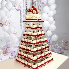 Wedding Cake Stands, Fall Wedding Cakes, Wedding Cakes With Cupcakes, Cupcake Cakes, Party Wedding, Square Wedding Cakes, Wedding Desserts, Dessert Ideas For Wedding, Unique Wedding Food
