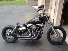 Walt's 2011 Harley Davidson Street Bob with Vivid Black Pintail Seat with red stitching | Rocket Bobs