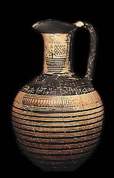 Oinochoe bearing one of the oldest Greek inscriptions. It was found in the Dipylon and dates to the second half of the 8th century BC.  National Archaeological Museum, Athens 192. Hellenic Ministry of Culture/Archaeological Receipts Fund.