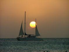 sailboats | Free Download Sunset In Aruba Nature Sailboat Wallpaper