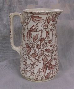 Antique Red Transferware Pitcher