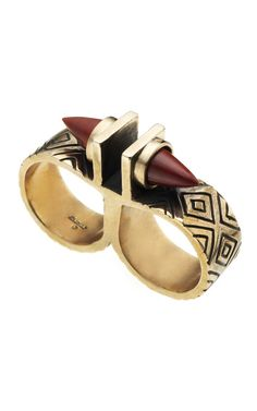 Pamela Love Paramount Double Finger Ring FW2012 in bronze and red jasper. $650.