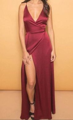 Burgundy V-Neck Evening Dresses,Spaghetti Straps Popular Party Dress,Long Sexy Prom Dresses with Side Slit,2017 prom dress