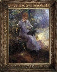 Pierre-Auguste Renoir Woman with a Black Dog Museum Quality Printed Art & Frame $8.99