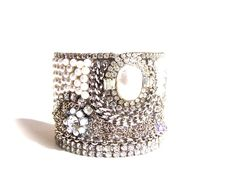 Wedding Jewelry, Cuff Bracelet, Pearl & Vintage Rhinestones by dabchickvintagegems on Etsy