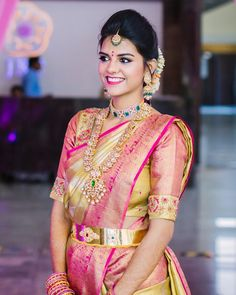 Beautiful and how! gave her a flawless and soft makeup look with perfect eye makeup! For bookings contact at 8790771088  Wedding Sarees Online, Saree Wedding, Wedding Bride, Wedding Saree Collection, Bridal Collection, South Indian Bridal Jewellery, Bridal Jewelry, Soft Makeup Looks, Bridal Hair Buns