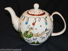 Gorgeous Blue Sky Heather Goldminc Time For Tea Deer Christmas Teapot NEW<br/>Blue Sky Clayworks - 47132