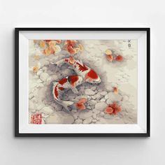 If you're a world traveler or dream traveling the globe, these Japanese Koi fish will give you that exotic feel you've been looking for. Japanese Koi, Fish Drawings, Paint By Number, World Traveler, Exotic, Numbers, Painting, Art, Art Background