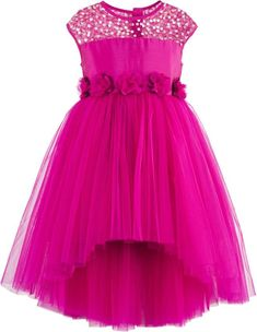 Girls pink sequined high low party dress. Hi-Low skirt pattern  Satin sash belt tie-up for easy wearing & better fit. Cotton lining at the bodice for skin comfort