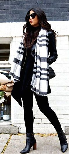 #winter #fashion / stripes + leather