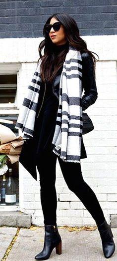 #winter #fashion / stripes + leather
