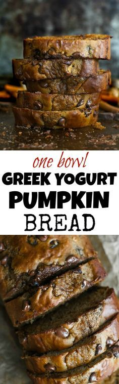 One Bowl Greek Yogurt Pumpkin Bread Healthy pumpkin bread is soft, moist, and delicious! Made with honey, Greek yogurt and whole wheat flour, I think this […] Yogurt Recipes, Baking Recipes, Bread Recipes, Thm Recipes, Recipies, Healthy Baking, Healthy Desserts, Easy Desserts, Healthy Pumpkin Recipes