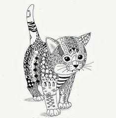 Efie goes Zentangle: Kitten van Ben Kwok
