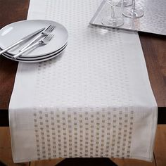 Embroidered Dot Table Runner #westelm Just got this...love it! And the napkins too.