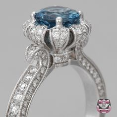Art Deco Engagement Ring Setting with Diamonds and an Aquamarine Central Stone.