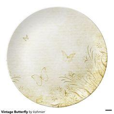 Vintage Butterfly Porcelain Plate