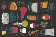 Vote on my Kitchen Calendar 2016 by Pommy New York on Spoonflower - custom fabric
