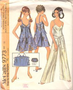 McCalls 9773 1960s Missed Hawaiian Culottes Bra Jumpsuit  Reversible Wrap Bra Dress and Bikini Panties womens vintage sewing pattern by mbchills