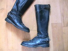 French 1960s Men Vintage Motorcycle Boots  Black by ladouchka, $170.00