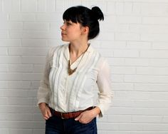 Vintage Cream Blouse / Pleated Blouse / 1980s Shirt