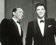 Frank Sinatra and Elvis Presley in tuxedos