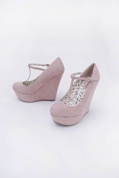 cute pale pink wedge t-straps