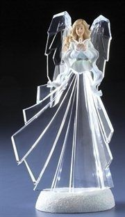 """RINC 34479: 11.5"""" Icy Crystal Lighted LED Religious Angel with Dove Christmas Figure"""