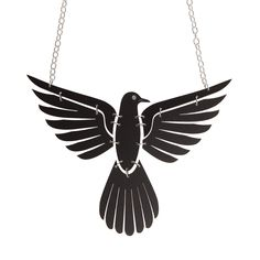 This Crow Necklace is an elegant statement piece, laser cut from matte black acrylic pieces, and features a silver crystal eye detail. Crow, Jewelry Accessories, Brooch, Jewels, Bracelets, Earrings, Sugar, Jewellery, Ear Rings