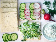 Herbed Cucumber Radish Tea Sandwiches. Brunch time!