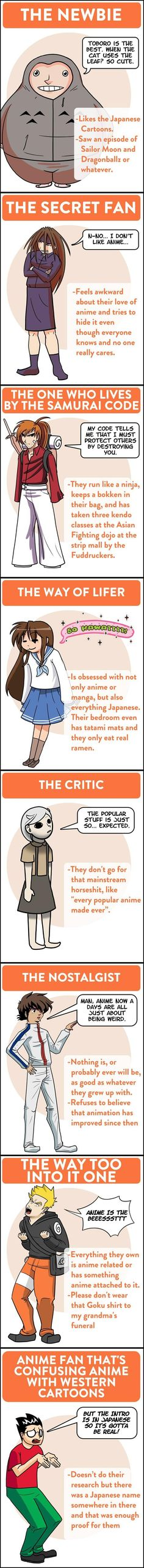 The 8 types of Anime fans you'll meet.