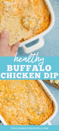 Healthy Buffalo Chicken Dip is a delicious, lighter version of your favorite appetizer! Made with simple ingredients like greek yogurt, chicken and cheese in your oven or crockpot! There is NO cream cheese in this recipe. Easy, gluten free, keto & loaded with flavor - you'll love it! Check the post for videos and step by step photos on how to make buffalo chicken dip. #healthy #buffalochicken #dip #appetizer #keto #glutenfree Healthy Appetizers, Appetizer Recipes, Healthy Dips, Healthy Foods, Snack Recipes, Healthy Eating, Healthy Recipes, Chicken Dips, Chicken Recipes