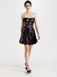 Silk Chiffon Strapless Dress  Dolce and Gabbana