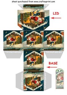 SANTA ON THE ROOF gift box Christmas tree decoration on Craftsuprint designed by Clive Couter - vintage image for gift box with matching gift tag and/or christmas tree decoration - suggest use reasonably thick card eg 190gsm (with thanks to panosfx)SEE MANY OTHER BOXES IN THE SERIES BY TYPING Clives boxes IN THE KEYWORD SEARCH BOX AT TOP OF PAGENow updated with punch hole marks for tie lid - Now available for download!