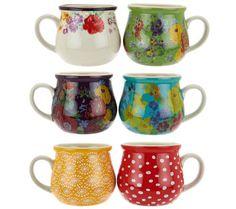 Pioneer Woman Garden Meadow Set of 6 Jumbo Ceramic Mug Set