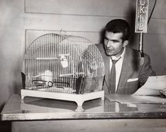 Unidentified announcer, observing the antics of a budgie bird in a cage which has been placed on the desk, CKLB mike is prominent