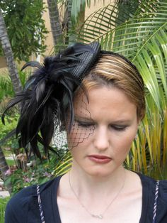 Black and Plum Feather Fascinator Hat with Veil and Beaded Band, for weddings, parties, cocktail, evening, special occasions on Etsy, $75.00