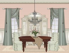 Dining Room Drapes, Dining Room Paint, Cabin Curtains, Drapes Curtains, Valances, Drapery Designs, Drapery Ideas, Victorian Curtains, Stoff Design