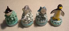 4 Ink Stamp Toys Sea LIfe Killer Whale Dolphin Shark Penguin Crafts Scrapbooking #Unbranded
